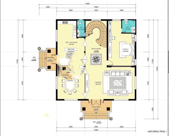 biet thu 3 tang co dien 13x18 4 - Thiết kế biệt thự cổ điển 3 tầng mặt tiền 13m đẳng cấp