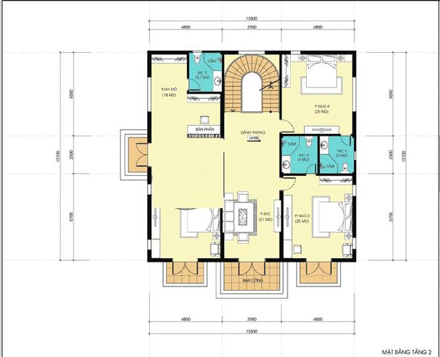 biet thu 3 tang co dien 13x18 5 - Thiết kế biệt thự cổ điển 3 tầng mặt tiền 13m đẳng cấp