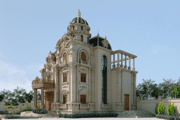 biet thu co dien 3 tang 14 ty 5 600x400 - Thiết kế biệt thự lâu đài 3 tầng cổ điển sang trọng quyền quý