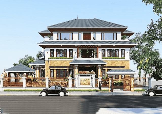biet thu mai thai 3 tang 270m2 2 - Thiết kế biệt thự đẹp mái thái 3 tầng