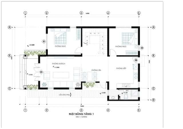 biet thu mat tien 12m dep 4 - Thiết kế biệt thự mái thái 2 tầng 4 phòng ngủ đẹp