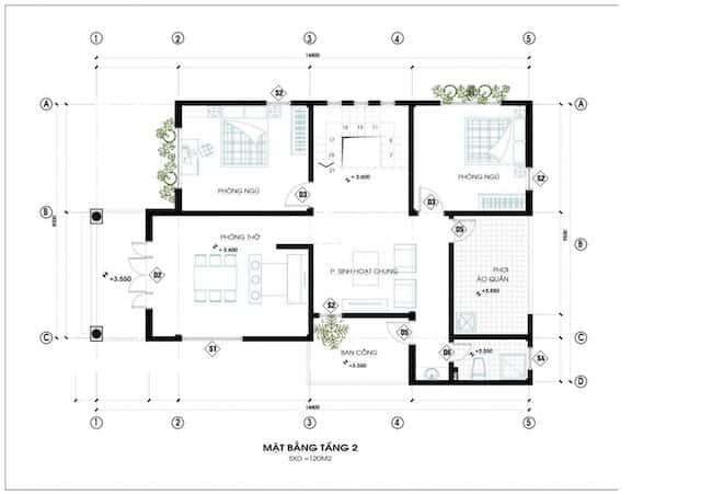 biet thu mat tien 12m dep 5 - Thiết kế biệt thự mái thái 2 tầng 4 phòng ngủ đẹp