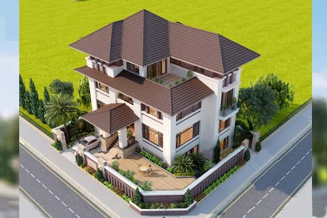 biet thu mat tien 20m hien dai 4 - 10 Mẫu thiết kế biệt thự kiến trúc mái thái đẹp đẳng cấp