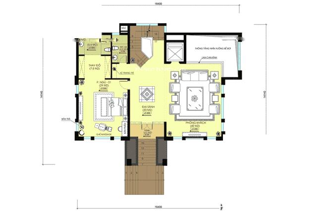 biet thu mat tien 20m hien dai 7 - Thiết kế biệt thự 3 tầng hiện đại mặt tiền 20m đẹp
