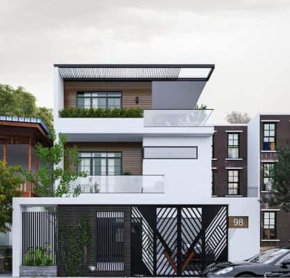 biet thu pho mini 2 417x400 - Thiết kế biệt thự phố 3 tầng mặt tiền 5m với kinh phí 2.5 tỷ