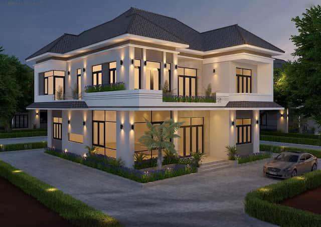 biet thu vuon 2 tang mat tien 12m 1 - Thiết kế biệt thự vườn 2 tầng mái thái đẹp