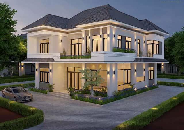 biet thu vuon 2 tang mat tien 12m 2 - Thiết kế biệt thự vườn 2 tầng mái thái đẹp