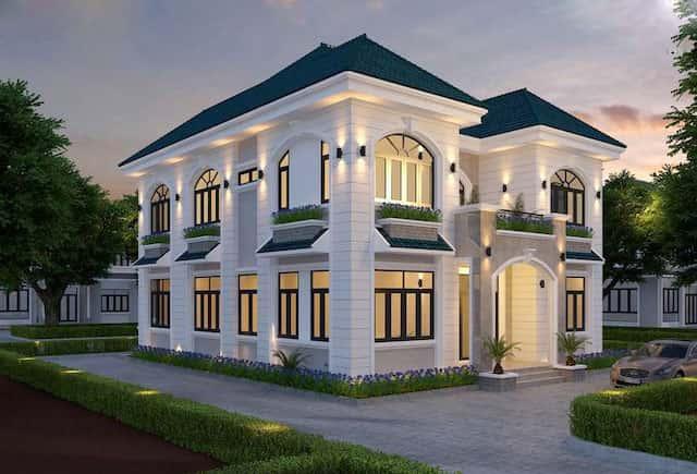 biet thu vuon 2 tang mat tien 12m 3 - Thiết kế biệt thự vườn 2 tầng mái thái đẹp