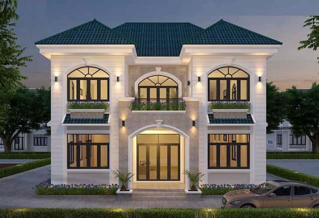 biet thu vuon 2 tang mat tien 12m 4 - Thiết kế biệt thự vườn 2 tầng mái thái đẹp