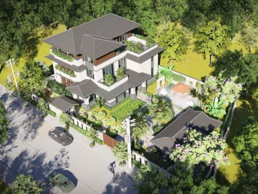 biet thu vuon 3 tang mai thai 1 533x400 - Thiết kế biệt thự vườn 3 tầng mái thái tuyệt đẹp