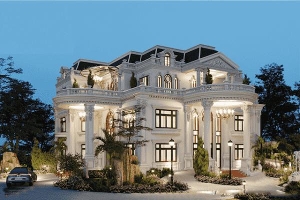mau biet thu mat tien 11m dep 3 600x400 - Thiết kế biệt thự 4 tầng kiến trúc tân cổ điển đẹp