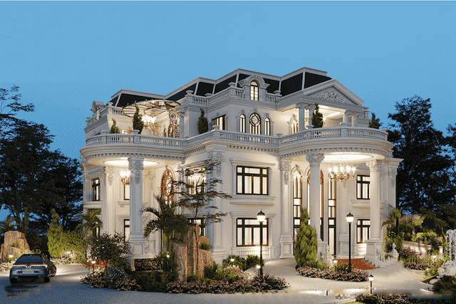 mau biet thu mat tien 11m dep 3 - Thiết kế biệt thự 4 tầng kiến trúc tân cổ điển đẹp