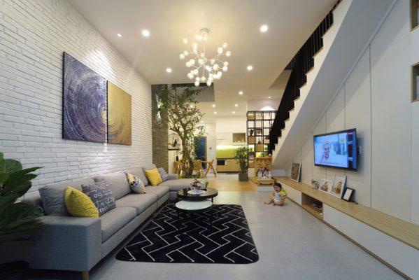 nội thất phòng khách nhà ống 1 1 599x400 - Thiết kế nội thất nhà ống