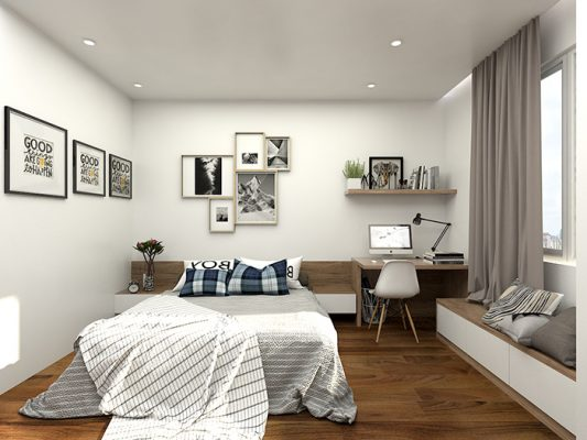 nội thất phòng ngủ nhà ống 1 533x400 - Thiết kế nội thất nhà ống