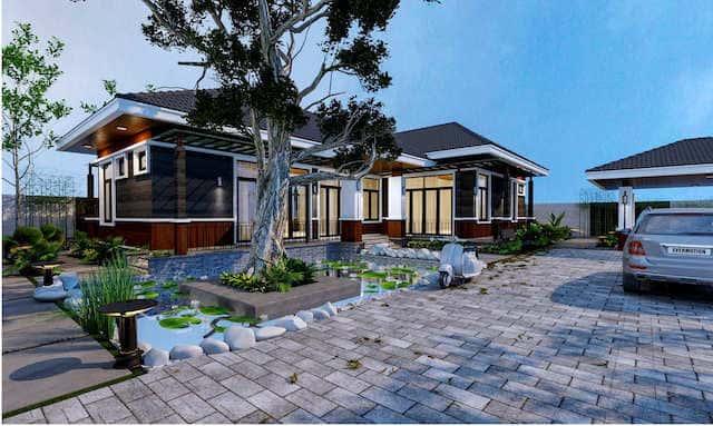 nha san vuon minimize - Thiết kế biệt thự vườn 1 tầng 3 phòng ngủ đơn giản hiện đại