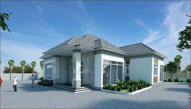 nha vuon dep o nong thon 1 - Thiết kế biệt thự vườn 1 tầng 3 phòng ngủ với diện tích 225m2 đẹp