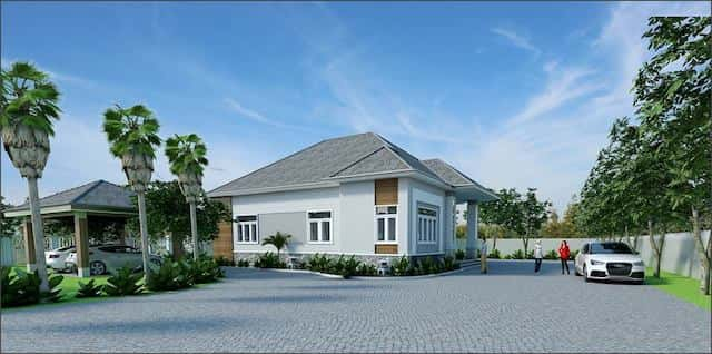 nha vuon dep o nong thon 2 - Thiết kế biệt thự vườn 1 tầng 3 phòng ngủ với diện tích 225m2 đẹp