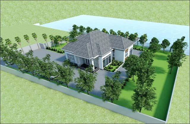 nha vuon dep o nong thon 3 - Thiết kế biệt thự vườn 1 tầng 3 phòng ngủ với diện tích 225m2 đẹp