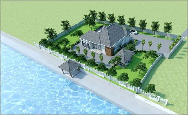 nha vuon dep o nong thon 4 - Thiết kế biệt thự vườn 1 tầng 3 phòng ngủ với diện tích 225m2 đẹp