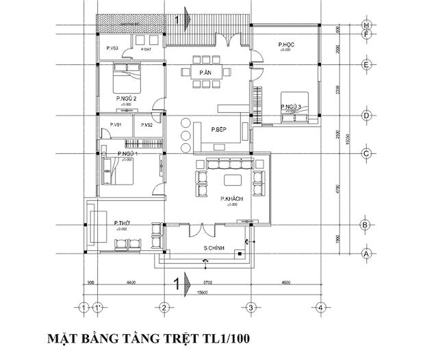 nha vuon dep o nong thon 6 - Thiết kế biệt thự vườn 1 tầng 3 phòng ngủ với diện tích 225m2 đẹp