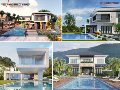thiet ke biet thu 2 hien dai co be boi 400x300 - Công trình biệt thự 2 tầng kiến trúc hiện đại có bể bơi