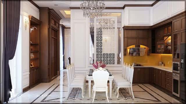 thiet ke noi that biet thu 3 tang chu l tan co dien dep 10 - Thiết kế biệt thự tân cổ điển 3 tầng chữ L đẹp