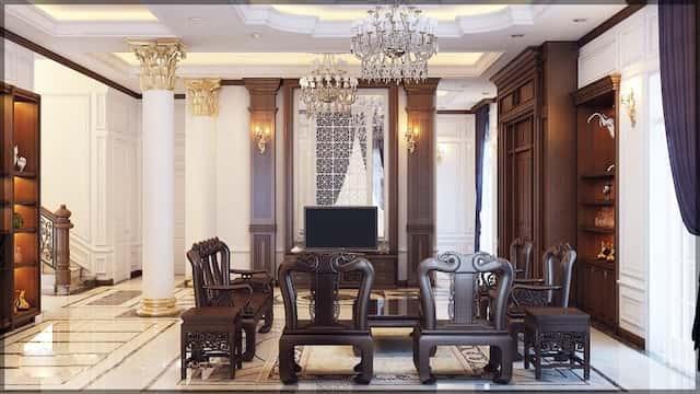 thiet ke noi that biet thu 3 tang chu l tan co dien dep 8 - Thiết kế biệt thự tân cổ điển 3 tầng chữ L đẹp