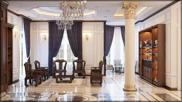 thiet ke noi that biet thu 3 tang chu l tan co dien dep 9 - Thiết kế biệt thự tân cổ điển 3 tầng chữ L đẹp