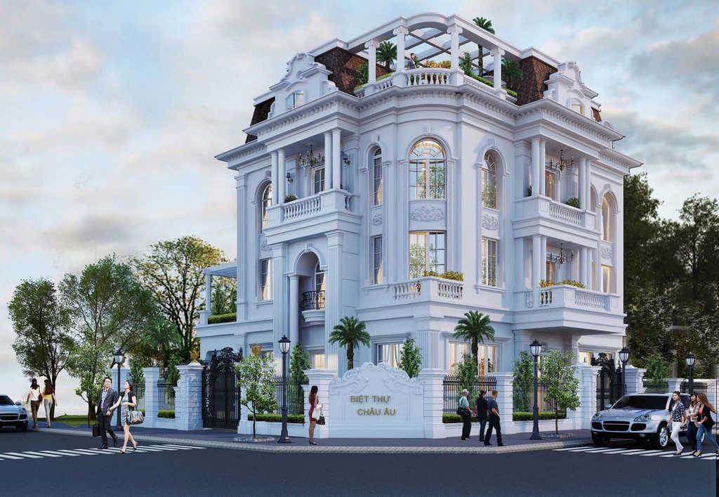1 phoi canh 3d ngoai that - Biệt thự kiến trúc châu âu tân cổ điển 4 tầng sang trọng đẳng cấp