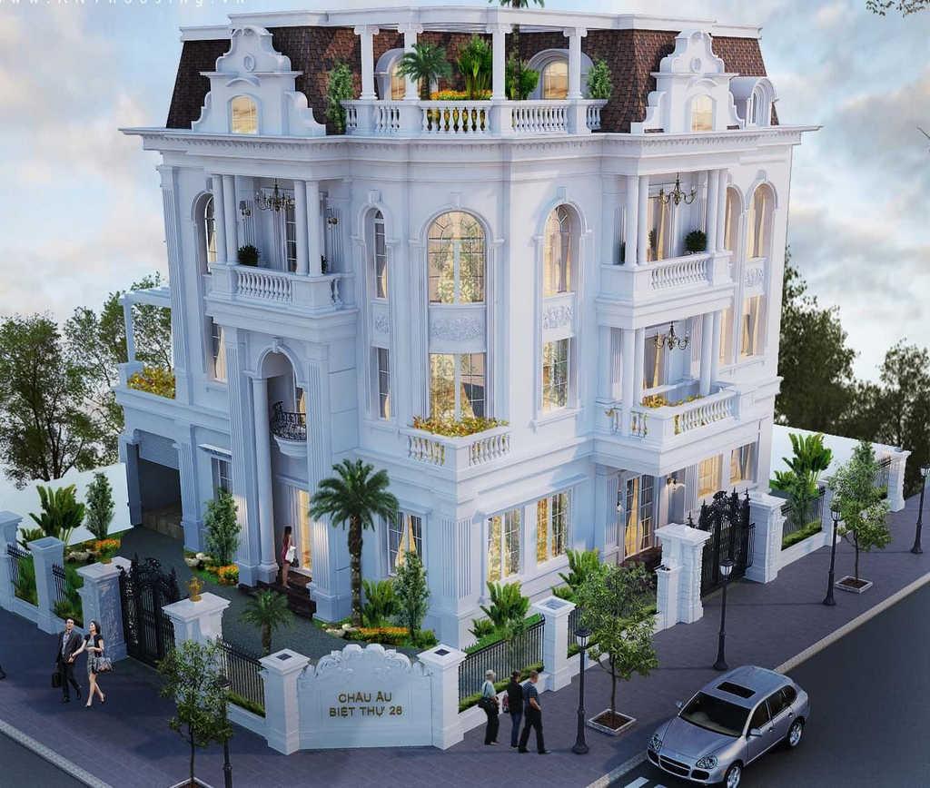 2 phoi canh 3d ngoai that - Biệt thự kiến trúc châu âu tân cổ điển 4 tầng sang trọng đẳng cấp