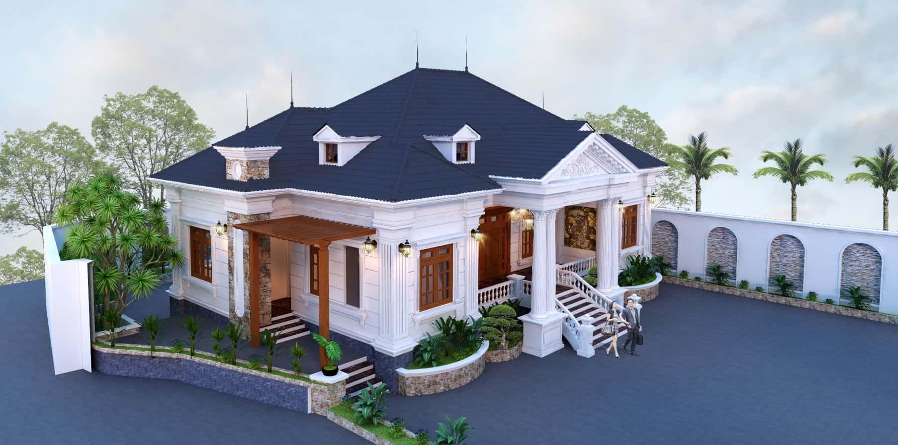 biet thu 1 tang tan co dien 1 - Công trình biệt thự 1 tầng tân cổ điển mái thái đẹp