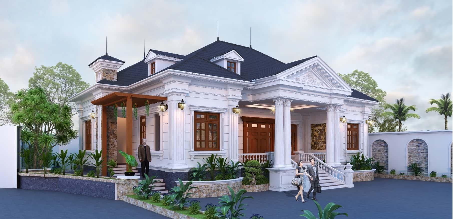 biet thu 1 tang tan co dien dep - Công trình biệt thự 1 tầng tân cổ điển mái thái đẹp