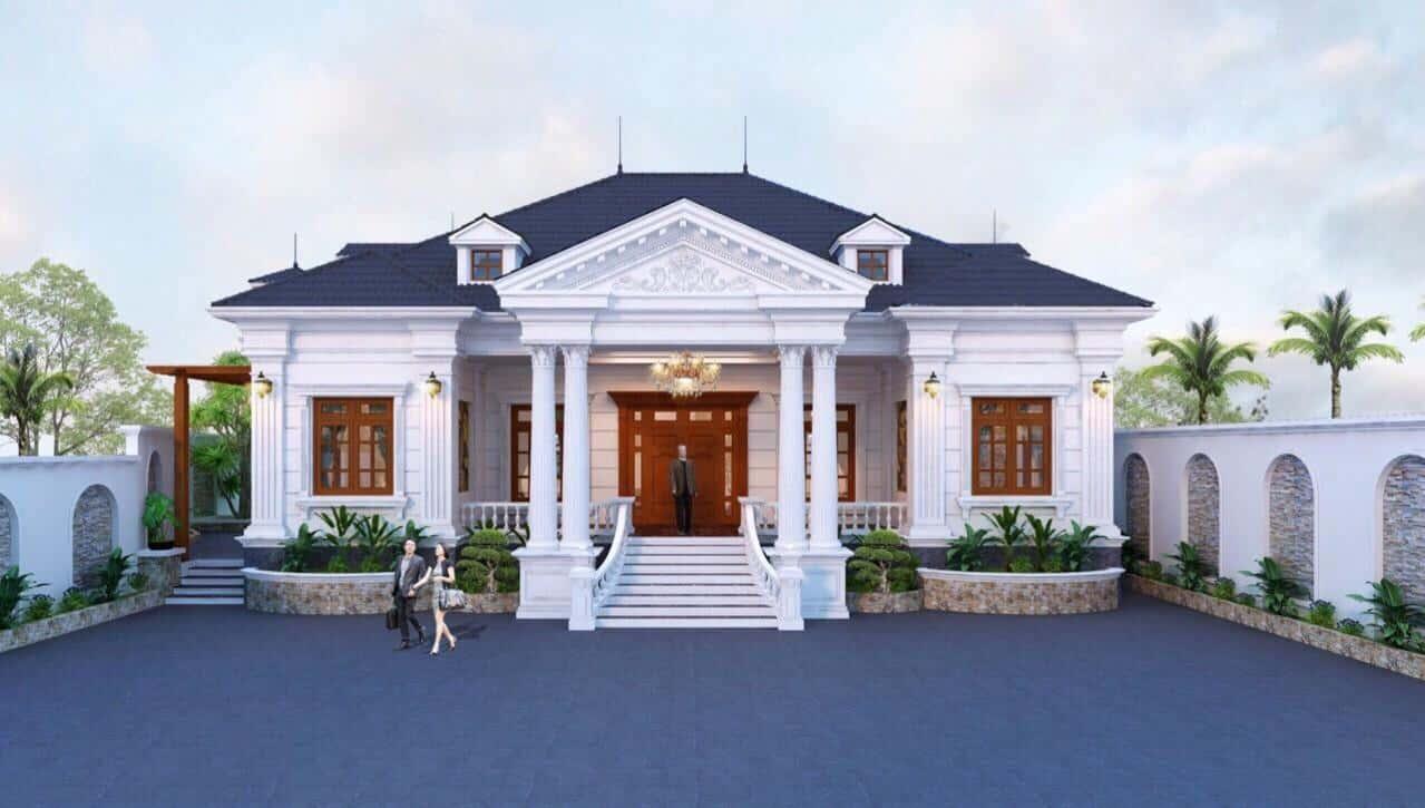 biet thu 1 tang tan co dien - Công trình biệt thự 1 tầng tân cổ điển mái thái đẹp