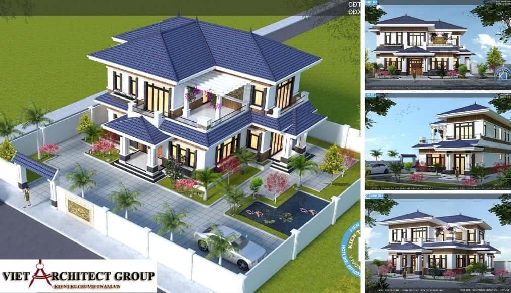 1 2 2 - Thiết kế biệt thự 2 tầng mái thái đẹp và chuyên nghiệp
