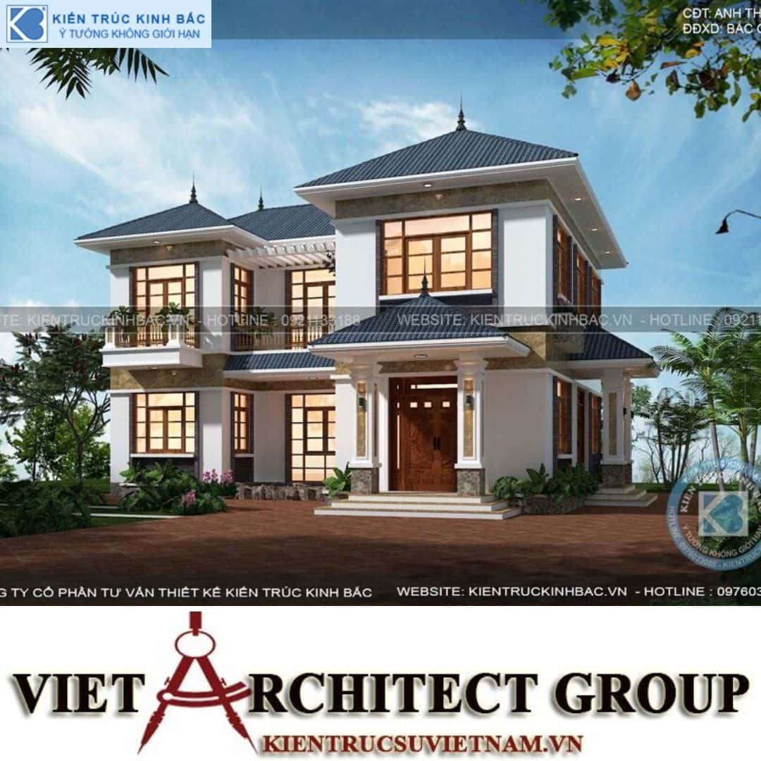 1 30 - Công trình Thiết kế biệt thự mái thái 2 tầng anh Thuỷ - Bắc Giang