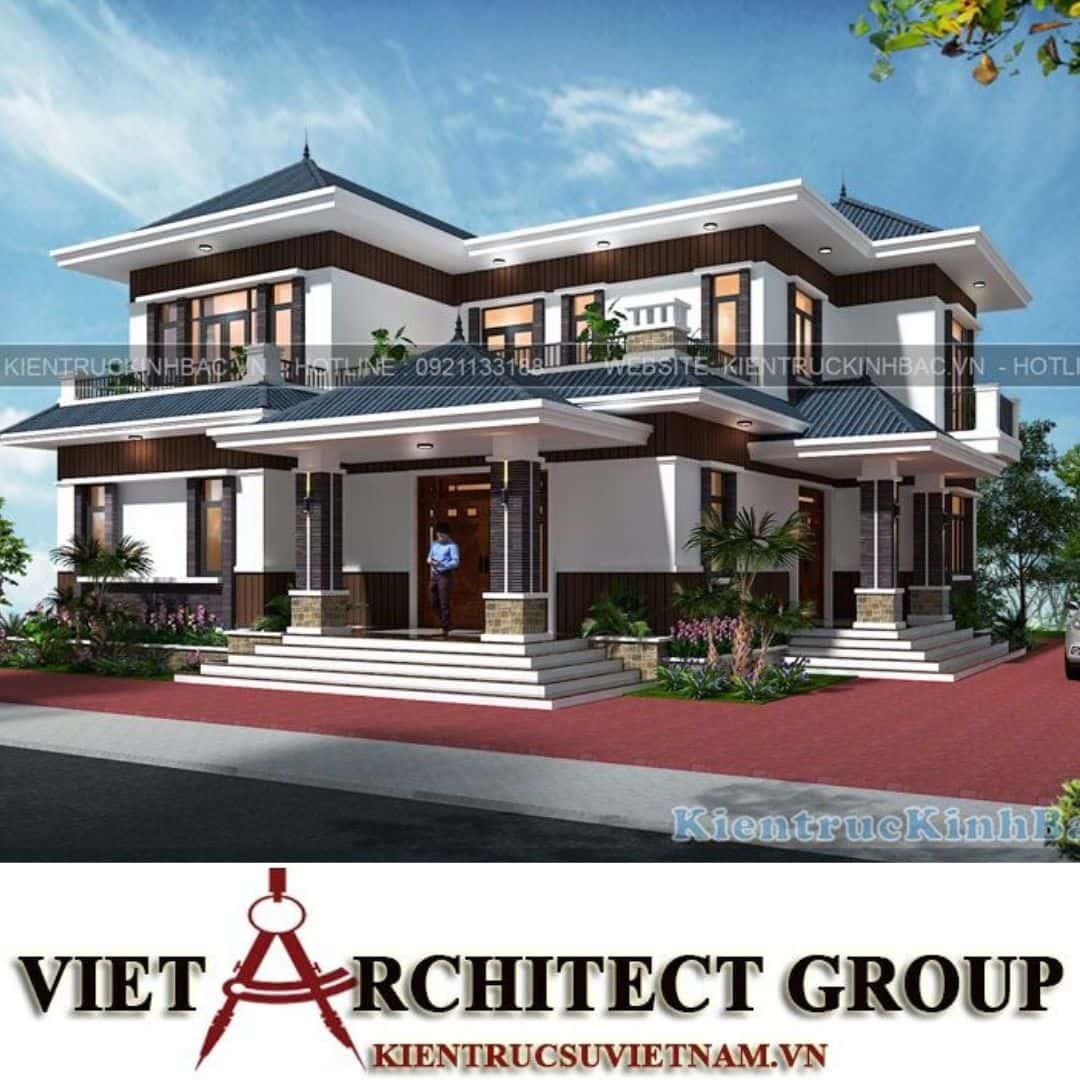 1 32 - Công trình thiết kế biệt thự 2 tầng hiện đại anh Chinh - Bắc Giang