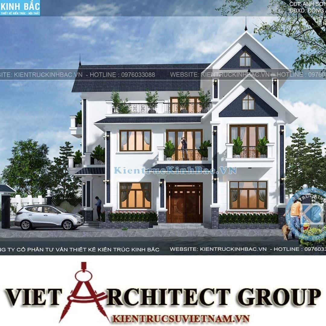 1 37 - Công trình thiết kế biệt thự tân cổ điển 3 tầng anh Sơn - Hà Nội