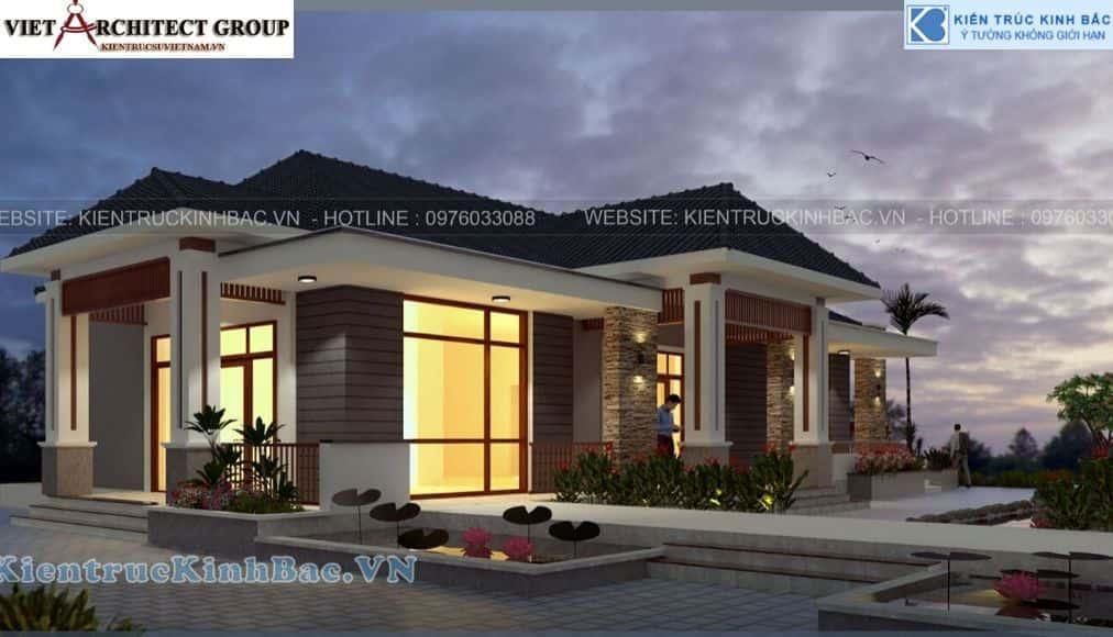 1 38 - Công trình thiết kế biệt thự 1 tầng anh Thịnh - Thái Nguyên