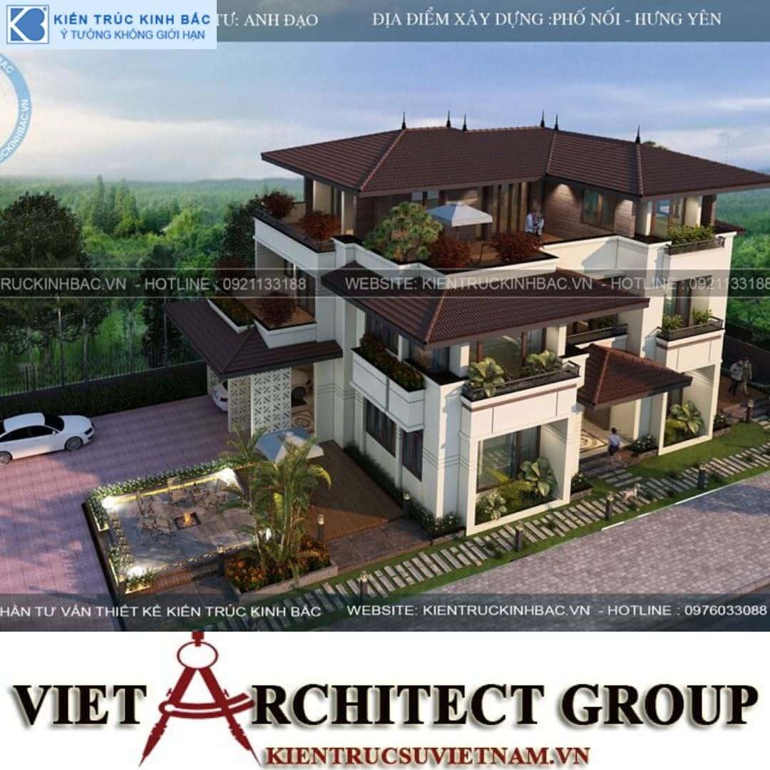 1 4 - Công trình biệt thự 3 tầng mặt tiền 20m kiến trúc hiện đại ở Phố Nối - Hưng Yên
