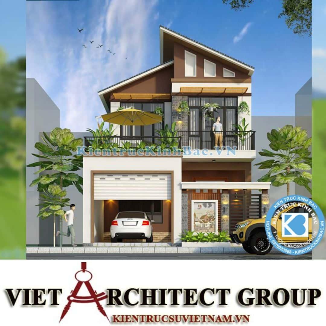 1 40 - Công trình thiết kế biệt thự 2 tầng mái lệch chị Trang - Nghệ An