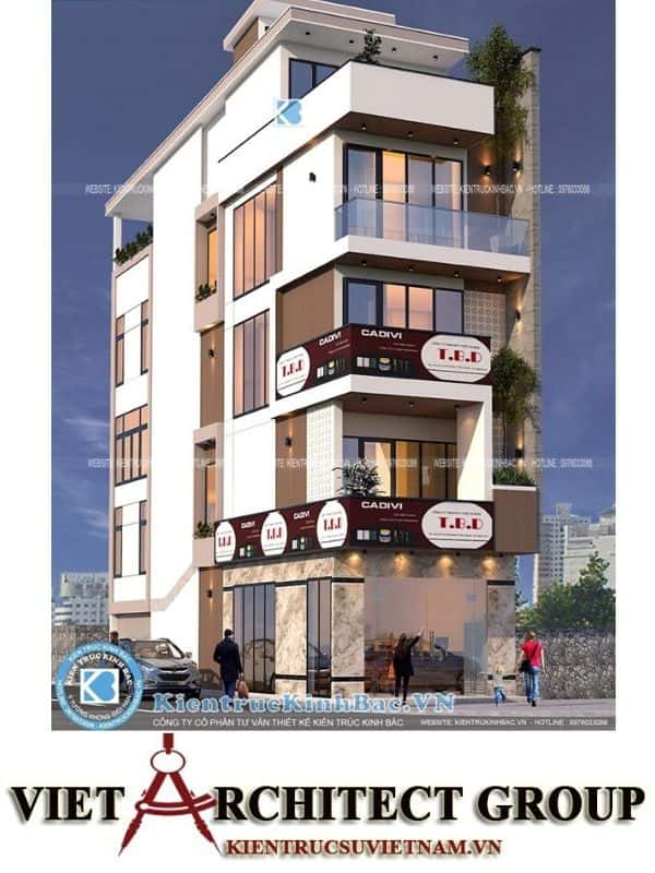 1 43 - Công trình Thiết kế nhà lô góc phố 5 tầng hiện đại tại chú Thọ - Hà Nội