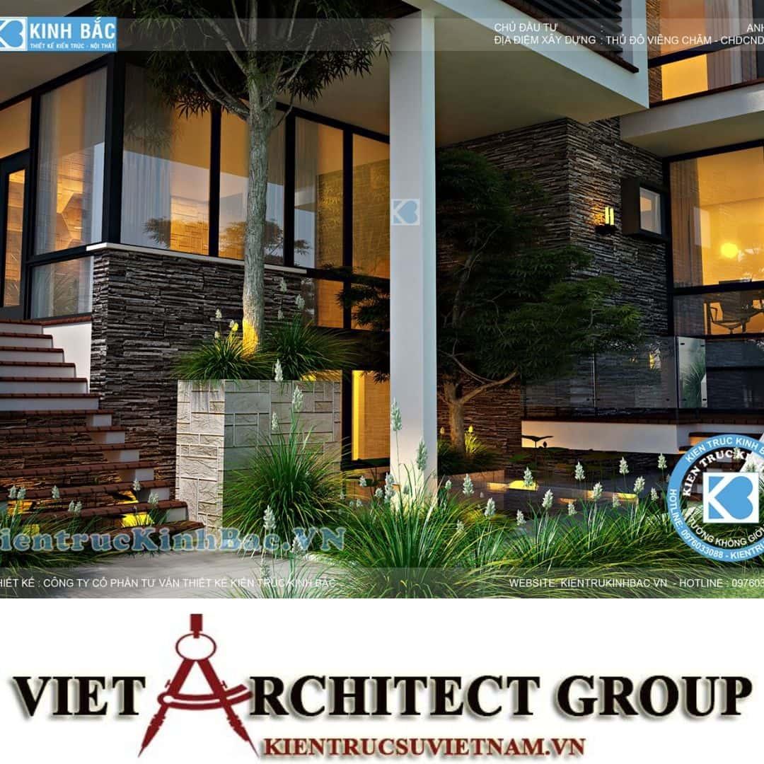 1 5 - Công trình biệt thự 3 tầng hiện đại anh Hải - Viên Chăn, Lào