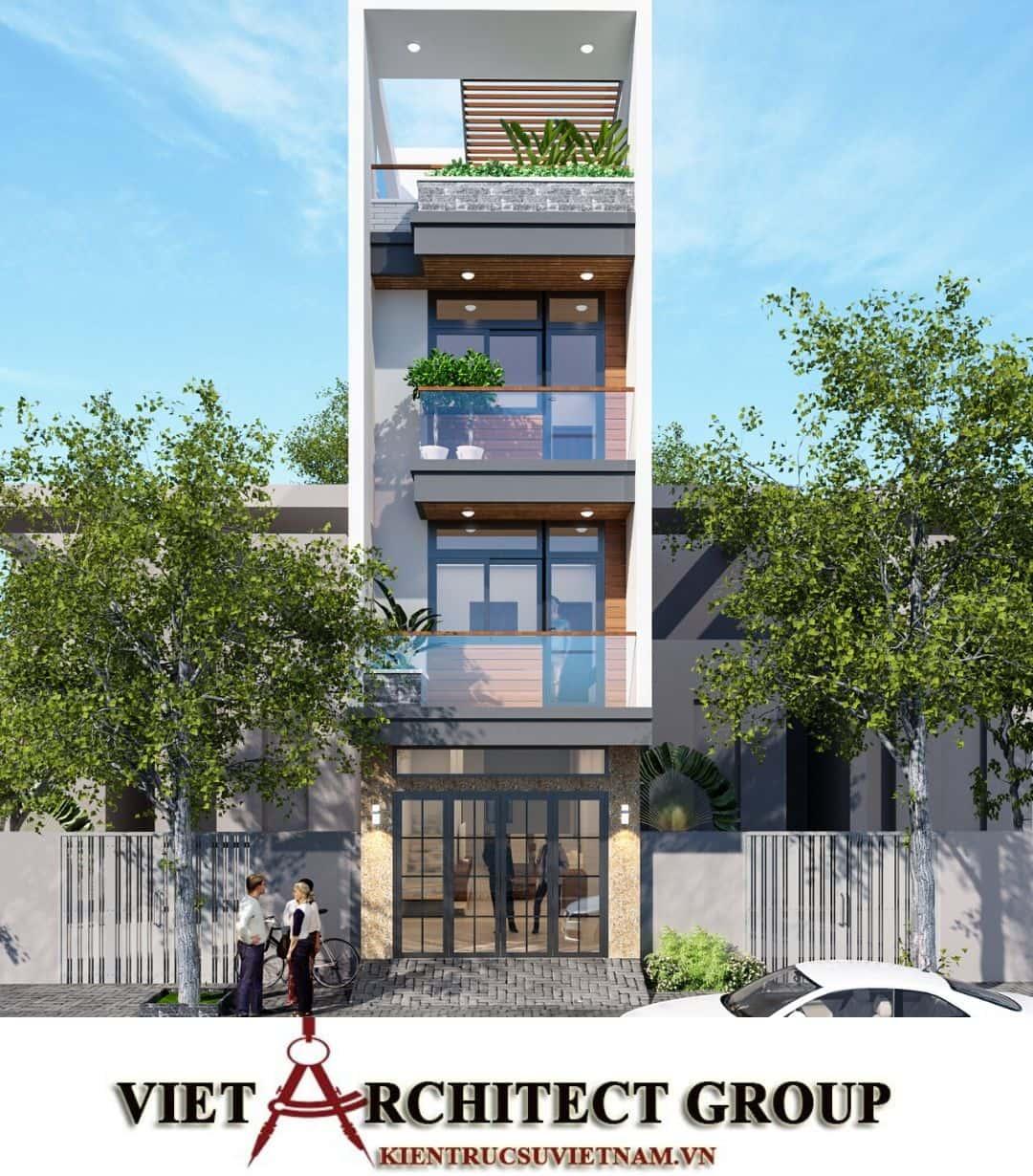 1 57 - Công trình nhà phố mặt tiền 4m 1 trệt 2 lầu sân thượng chị Hải - Thủ Đức