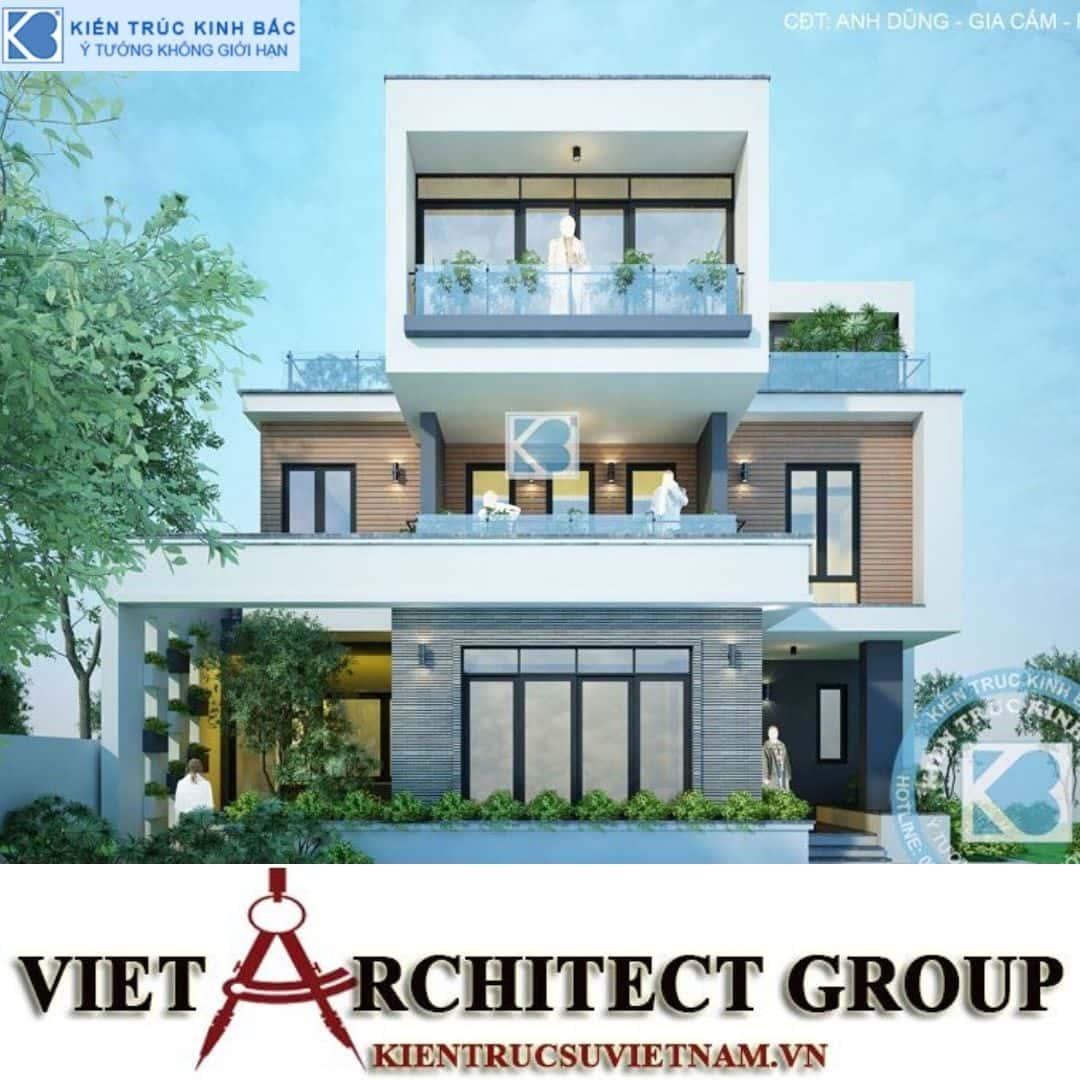 2 26 - Công trình Thiết kế biệt thự 3 tầng hiện đại anh Dũng - Phú Thọ