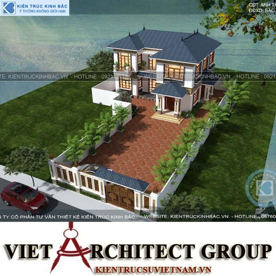 2 30 - Công trình Thiết kế biệt thự mái thái 2 tầng anh Thuỷ - Bắc Giang