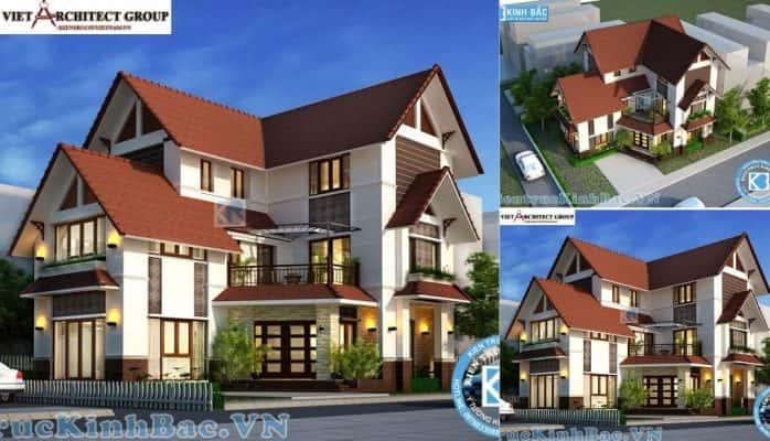 2 37 698x400 - Công trình thiết kế biệt thự mái thái 3 tầng anh Thọ - Ninh Bình