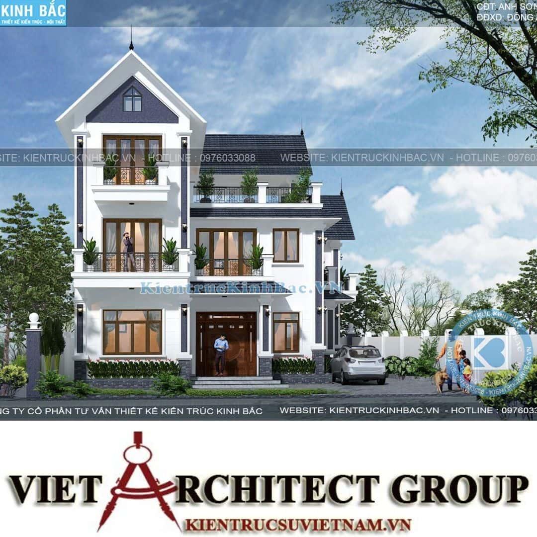 2 38 - Công trình thiết kế biệt thự tân cổ điển 3 tầng anh Sơn - Hà Nội
