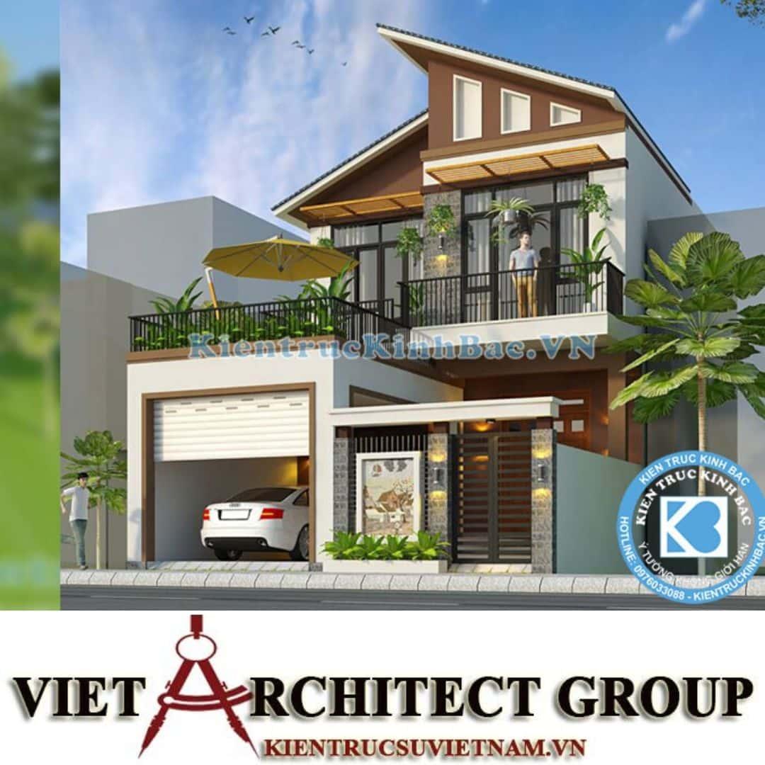 2 41 - Công trình thiết kế biệt thự 2 tầng mái lệch chị Trang - Nghệ An