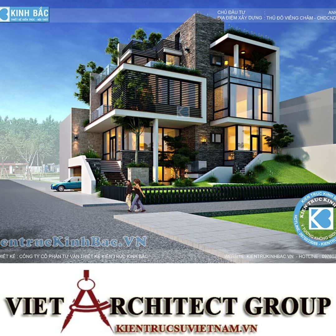 2 5 - Công trình biệt thự 3 tầng hiện đại anh Hải - Viên Chăn, Lào