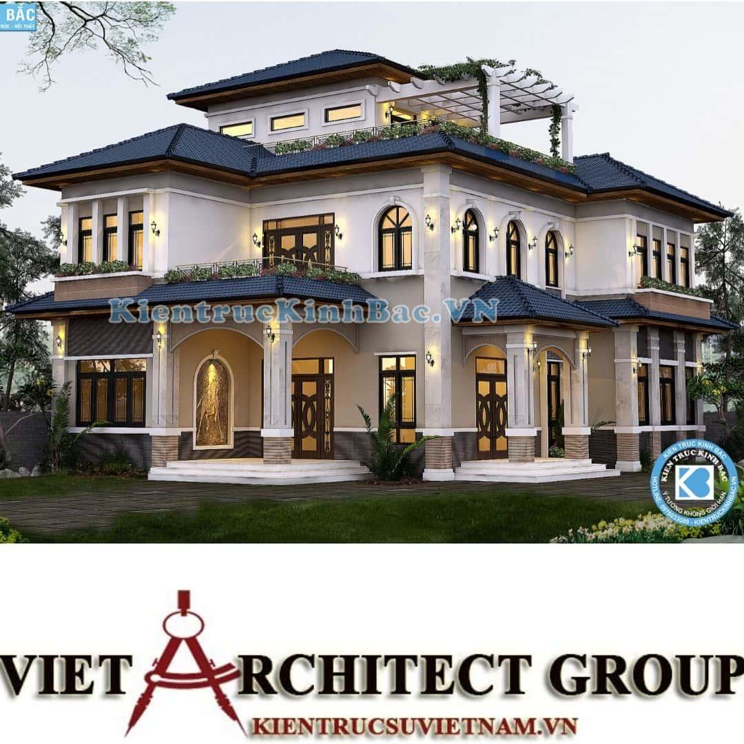 3 19 - Công trình thiết kế biệt thự tân cổ điển 3 tầng tại Hà Nội